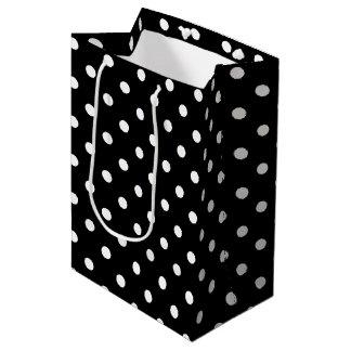 Sac Cadeau Moyen Point de polka noir