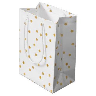 Sac Cadeau Moyen Points modernes élégants de confettis d'or blanc
