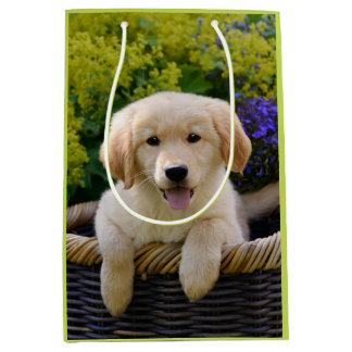 Sac Cadeau Moyen Portrait de charme de photo de chiot de chien de