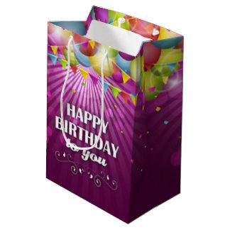 Sac Cadeau Moyen Pourpre coloré de ballons joyeux anniversaire