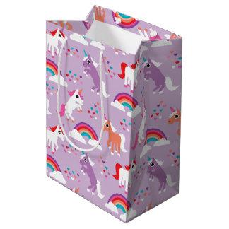 Sac Cadeau Moyen Pourpre mignon d'arc-en-ciel de licorne