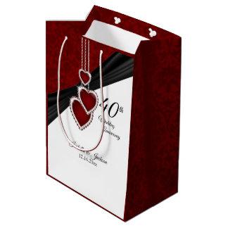 Sac Cadeau Moyen quarantième Anniversaire de mariage rouge