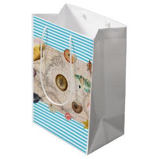 Sac Cadeau Moyen Rayures bleues de trésor marin