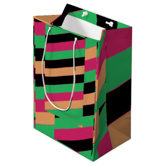 Sac Cadeau Moyen Rayures colorées par harlequin diagonal