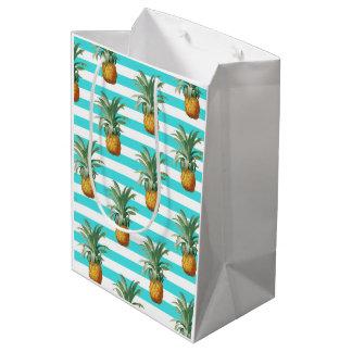 Sac Cadeau Moyen rayures de sarcelle d'hiver d'ananas
