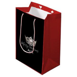 Sac Cadeau Moyen Sac-Noël rouge de cadeau de couronne argentée de