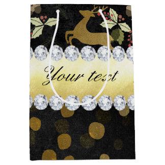 Sac Cadeau Moyen Tableau de diamants de confettis de cerfs communs