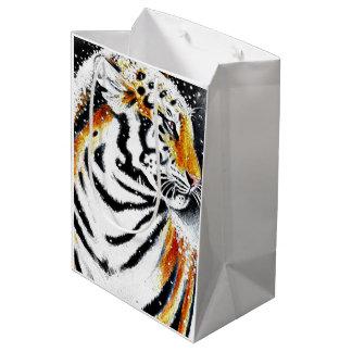 Sac Cadeau Moyen Tigre dans la neige noir