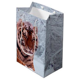 Sac Cadeau Moyen Tigre et neige
