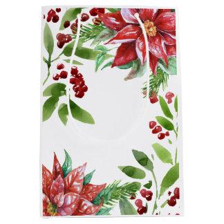 Sac Cadeau Moyen Vacances élégantes d'aquarelle florales
