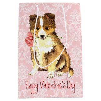 Sac Cadeau Moyen Valentine Sheltie rose