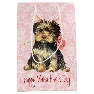 Sac Cadeau Moyen Valentine Yorkie rose