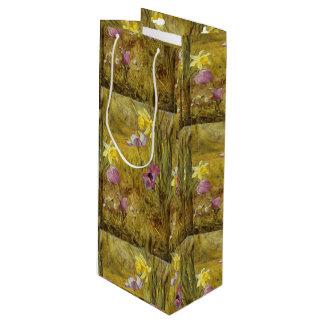 Sac Cadeau Pour Bouteille Anémones vintages et jonquilles Henry Newman