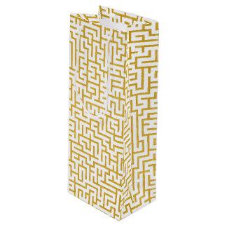 Sac Cadeau Pour Bouteille Art moderne de labyrinthe élégant - or et blanc