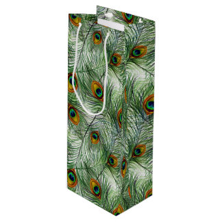 Sac Cadeau Pour Bouteille Belle plume verte de paon