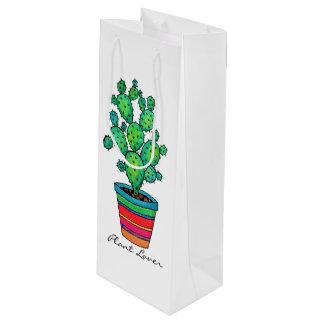 Sac Cadeau Pour Bouteille Cactus magnifique d'aquarelle dans le beau pot