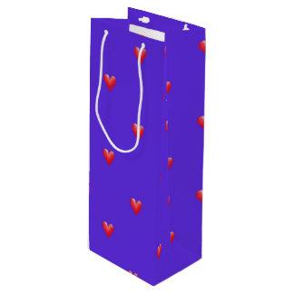 Sac Cadeau Pour Bouteille Coeurs roses la Saint-Valentin du pourpre |