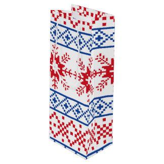 Sac Cadeau Pour Bouteille Frontières nordiques de flocon de neige de Noël