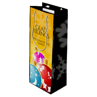 Sac Cadeau Pour Bouteille Joyeux Noël avec les ornements de fête de vacances