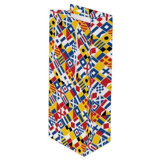 Sac Cadeau Pour Bouteille Motif de drapeaux de signal nautique