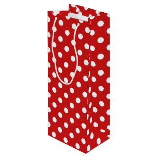 Sac Cadeau Pour Bouteille Motif de point rouge et blanc de polka