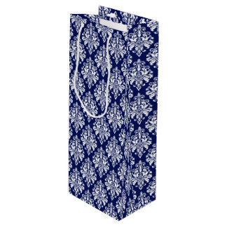 Sac Cadeau Pour Bouteille Motif élégant de damassé de bleu marine et de