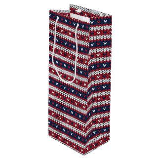 Sac Cadeau Pour Bouteille Motif patriotique de chandail de Noël