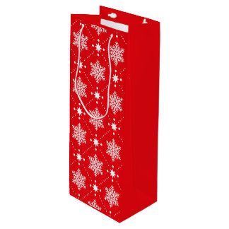 Sac Cadeau Pour Bouteille Motif rouge et blanc classique de Noël de flocons