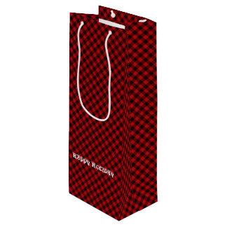 Sac Cadeau Pour Bouteille Motif rouge rustique avec du charme de plaid de