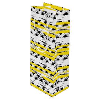 Sac Cadeau Pour Bouteille Motif tribal de rayures jaunes blanches noires