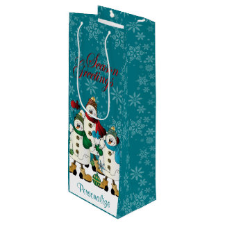 Sac Cadeau Pour Bouteille Noël des amis | de bonhommes de neige de