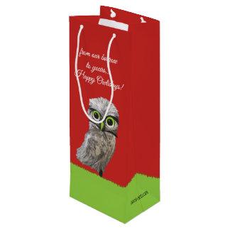 Sac Cadeau Pour Bouteille Or et argent creusant des vacances de hibou
