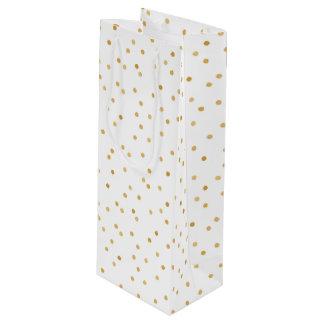 Sac Cadeau Pour Bouteille Points modernes élégants de confettis de blanc et
