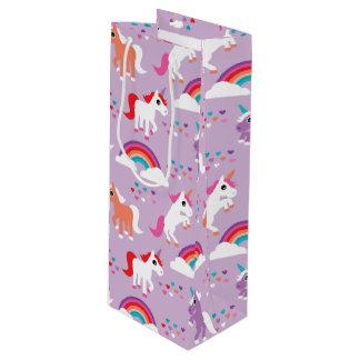 Sac Cadeau Pour Bouteille Pourpre mignon d'arc-en-ciel de licorne