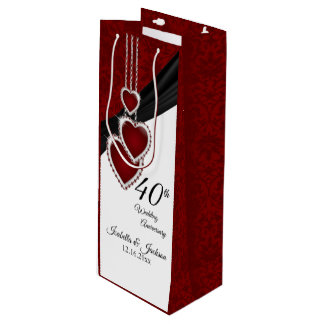 Sac Cadeau Pour Bouteille quarantième Anniversaire de mariage rouge - vin