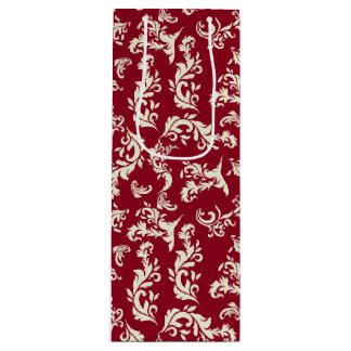Sac Cadeau Pour Bouteille Rouge en filigrane de Noël