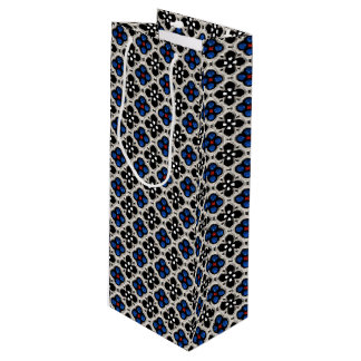 Sac Cadeau Pour Bouteille Vacances argentées et bleues Bling