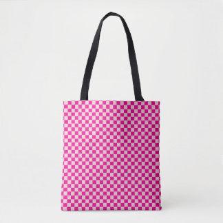 Sac Checkered de rose et blanc