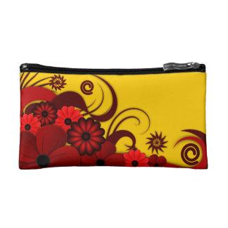 Sac cosmétique floral de ketmie tropicale rouge
