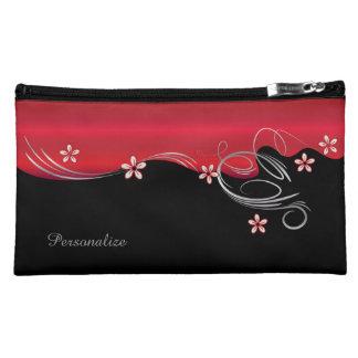 Sac cosmétique - floral rouge-foncé élégant nécessaires de maquillage