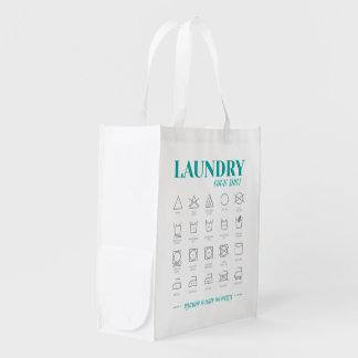 Sac de blanchisserie d'aide-mémoire de sac réutilisable