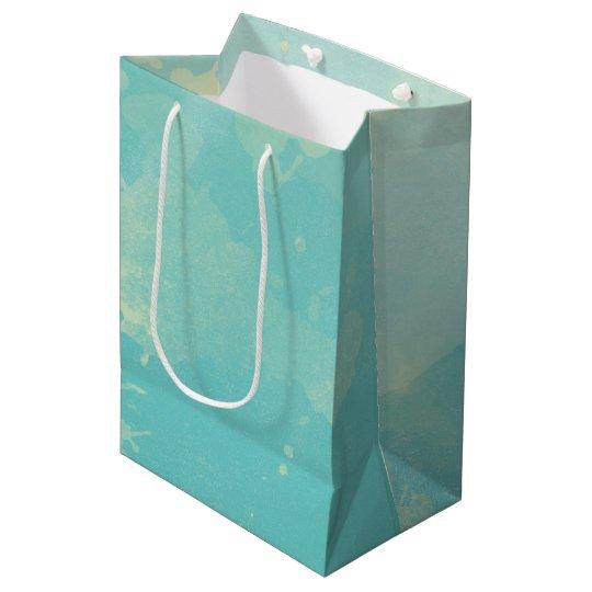 Sac de cadeau d'aquarelle de vert bleu