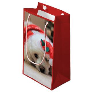 Sac de cadeau de chien de caniche de Noël