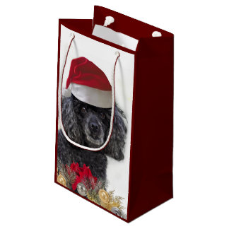 Sac de cadeau de chien de caniche de Noël petit