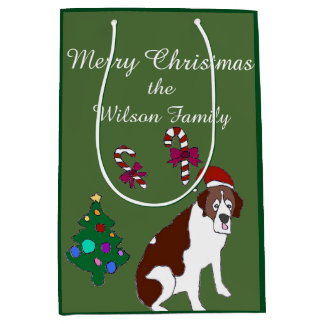 Sac de cadeau de chien de St Bernard de Noël Sac Cadeau Medium