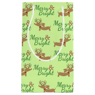 Sac de cadeau de Noël de chien de saucisse joyeux