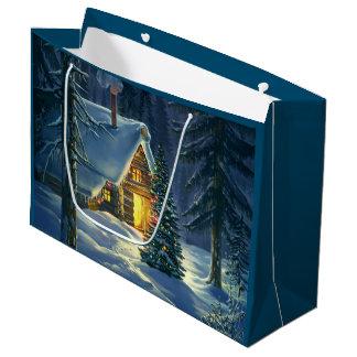 Sac de cadeau de paysage de neige de Noël grand