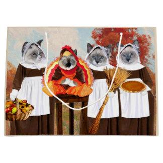 Sac de cadeau de thanksgiving de chatons grand
