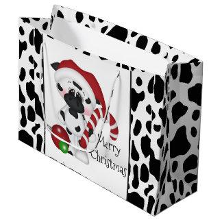 Sac de cadeau de vacances de vache à Noël grand