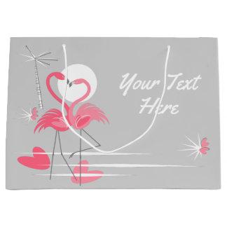 Sac de cadeau des textes d'amour de flamant grand